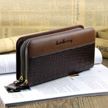 2016 Clutch Bag Men Wallets Black Brown Luxury Large Capacity Gift for Male Double Zipper Long Wallet Handbag Purse