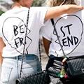 2017 Summer Best Friends T Shirt Print Letter BE FRI ST END Women T-shirt Fashion Short Sleeve Women Clothing White Black