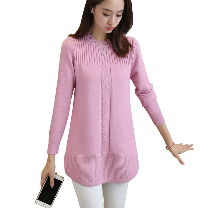 2019 New High Quality Pullovers Autumn Winter European Style Women Fashion Pullovers Cashmere Knitted Long Sweater Women