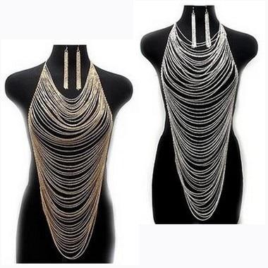 Chran Women Gold Silver Color Tassel Body Chain Harness Chunky Statement Necklace Beach Bikini Jewelry C0001