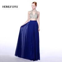 2017 New Two Piece Prom Dresses Long Royal Blue Beaded O Neck Vestido De Festa Formal
