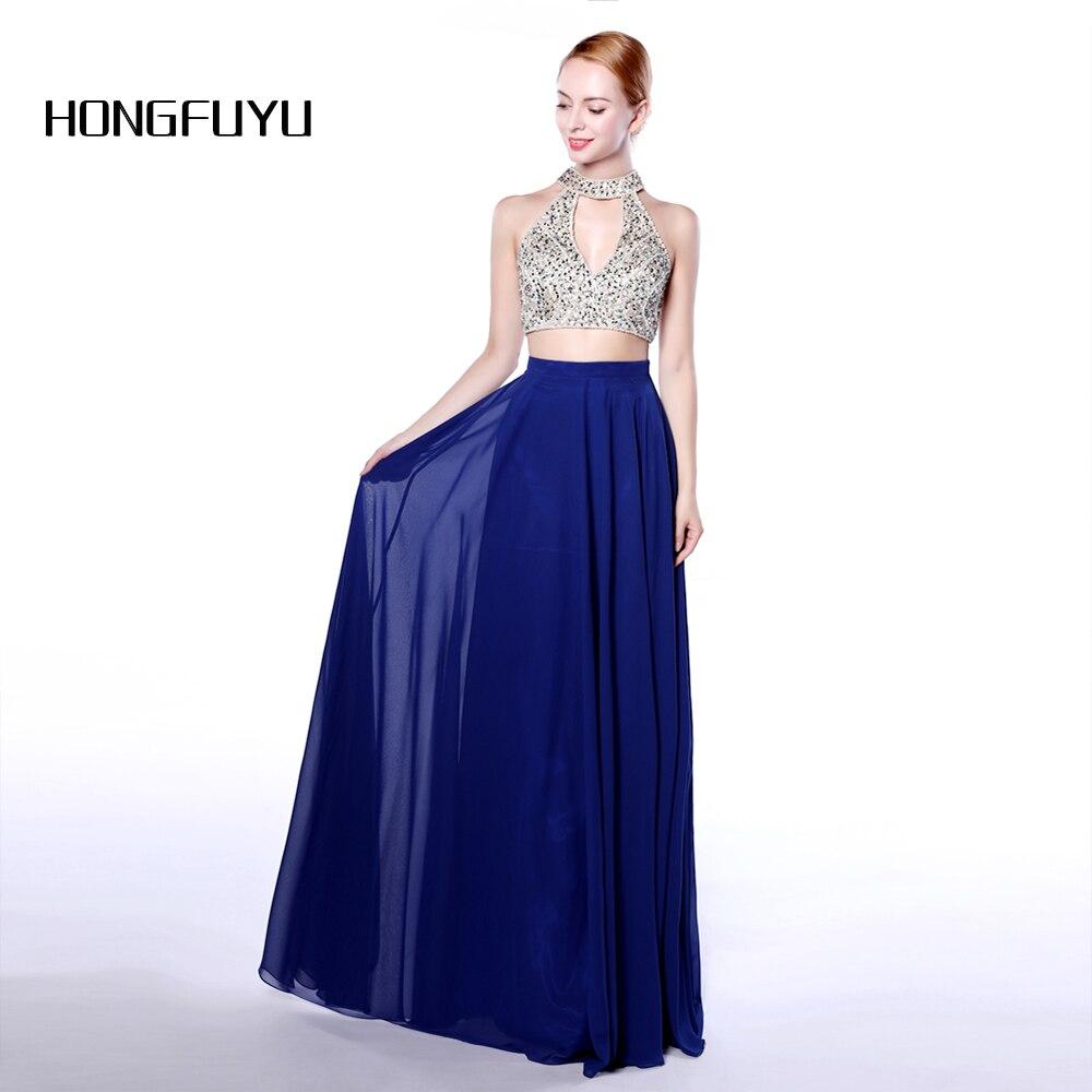 2019 New Two Piece   Prom     Dresses   Long Royal Blue Beaded O-Neck Vestido De Festa Formal Evening Party Gowns A Line Women   Dress