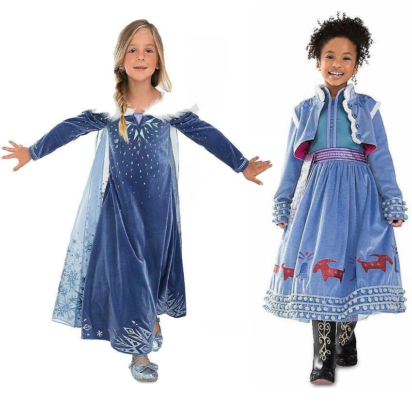 bbc73b302 2019 vestido de verano para niñas Pascua Elsa carnaval disfraz niños ...