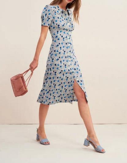 Women Summer Floral Midi dresses 2019 Elegant Casual Vintage Short sleeve Dress