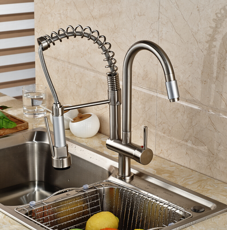 Luxury Nickel Brushed Kitchen Faucet Swivel Spout Deck Mounted Sink Mixer Tap Single Handle Hole Hot and Cold Water brushed nickel double handles spray stream brass water kitchen swivel spout pull out vessel sink deck mounted mixer tap faucet