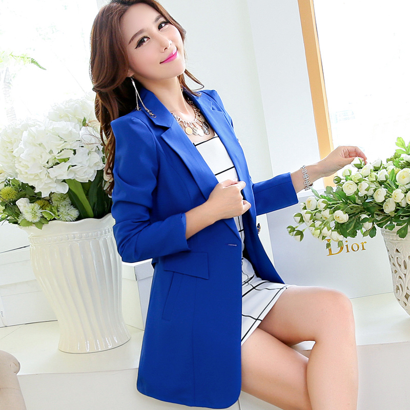 Hot Notched Single Button Long Women Blazers Work Spring Autumn Long Sleeve Jackets And Coats Slim Solid Suits Female Outerwear