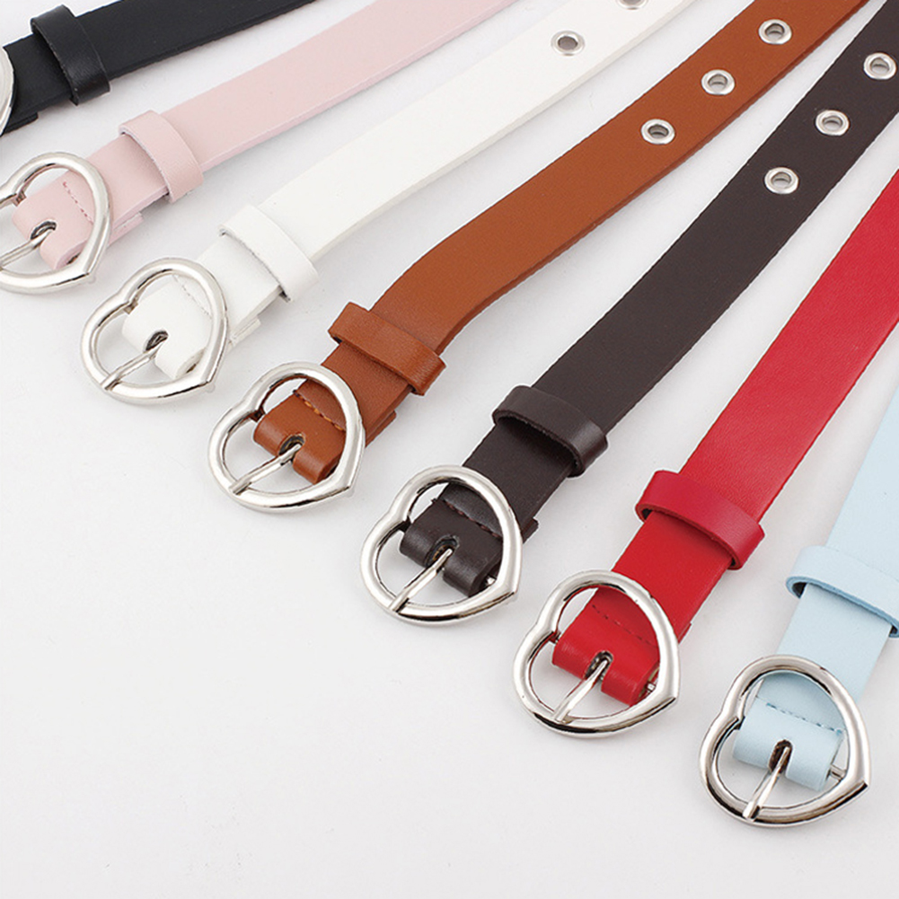 2019 Silver Metal Alloy Heart Buckle Pin   Belt   Adjustable Hollow Out PU Leather Women Harajuku Solid Color Waist   Belts   Waistbands