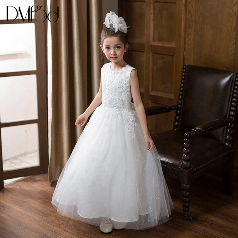 Princess Girls Dresses Sleeveless Lace Flower Design Birthday Party Dress for Wedding Girls Clothes Cute Girls Dress 3-13Y 9156 summer princess baby girls lace dress kids party wedding flower dresses cute sleeveless mesh cotton children girls dress dq372