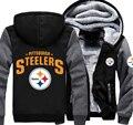 Free Shipping USA size Foot-ballTeam Steelers Men Women Zipper Thicken Hoodie Fleece Jacket Clothing Casual Coat