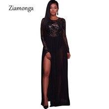 cc6df7d37b2 Ziamonga блестками кружева лоскутное шифоновое платье Для женщин Высокая  Талия Разделение платье с открытой спиной элегантный
