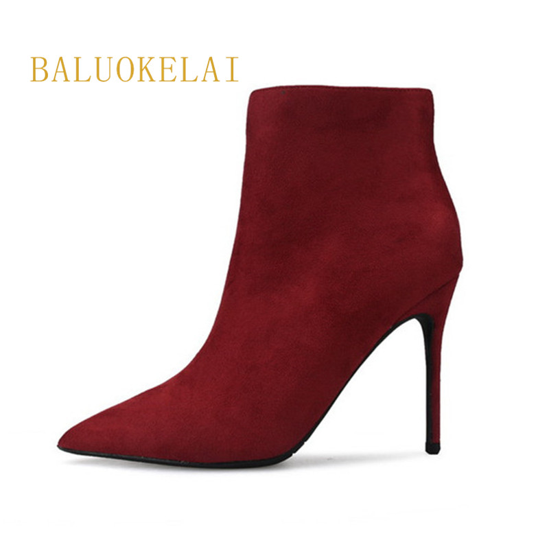Women Boots High Heels Flock Material Short Plush Inner Wine Red Side Zippers Fashion Party Boots Size US4-US9 ,K-018 black round toe side zippers heavy bottomed increased inner 12 cm slope heels naked boots discount women fashion wedges booties