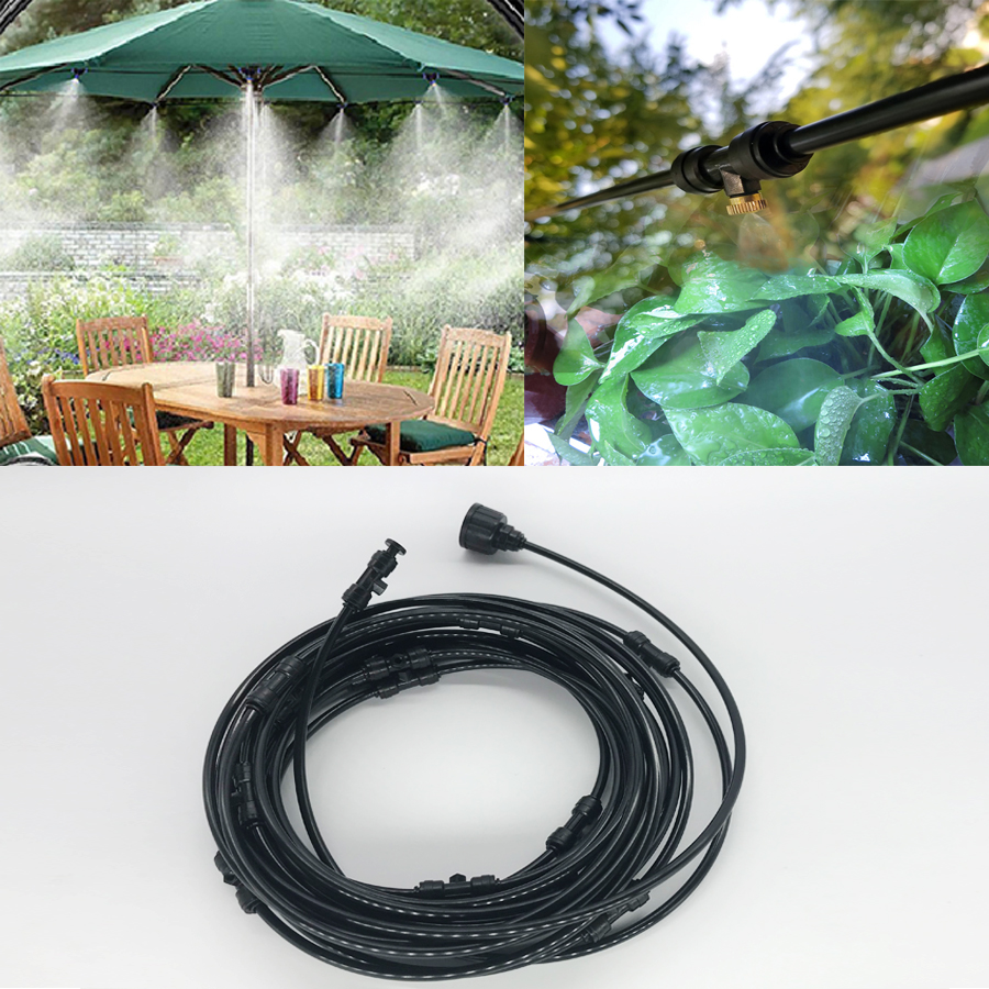 Outdoor Misting Cooling System Kit for Greenhouse Garden Patio Waterring Irrigation Mister Line 6M 18M System-in Sprayers from Home & Garden