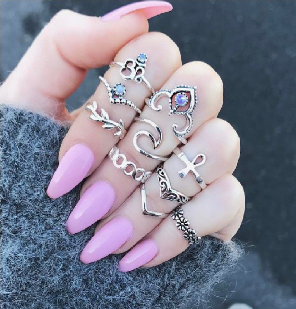 10pcs boho knuckle ring set cross crow crown finger ring set retro flower vintage jewelry for women young lady fashion jewelry