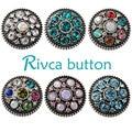 Botão snap bracelet & bangles d02172 atacado strass rivca botão rivca flor pulseira para as mulheres 18mm botão snap jóias