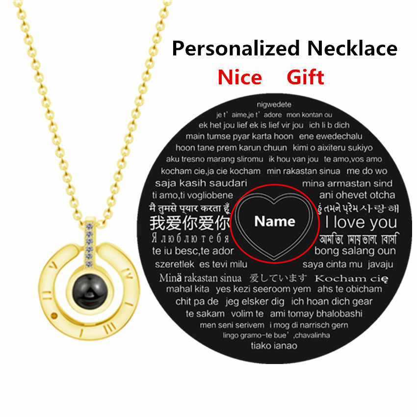 Personalized Any Name Necklaces Women Rose Gold Silver 100 Languages I Love You Projection Pendant Necklace Men BFF Jewerly Gift