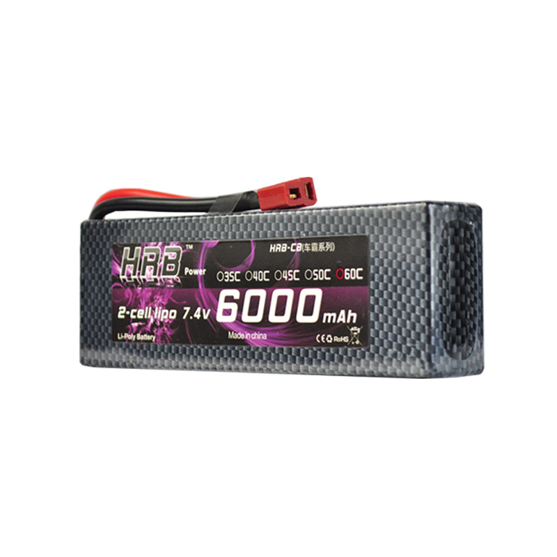 HRB RC Lipo Battery 2S 7.4V 6000mAh 60C-120C Hard Case for RC 1/10 Scale Traxxas Car Boat Helicopter Quadcopter
