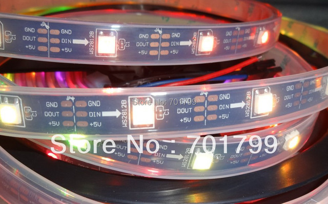 BLACK PCB 5m DC5V WS2812B led pixel srip,IP68,30pcs WS2812B/M with 30pixels,waterproof in silicon tube