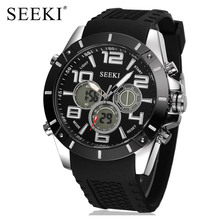 SEEKI Brand Military Outdoor Waterproof Dual Display Alarm Chronograph Black Rubber Strap Gents Multi Function Sport Watches