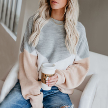ALLNeon Oversized Sweaters For Women Loose Knitting Pullovers Round Neck Patchwork Lantern Sleeve Jumpers Winter