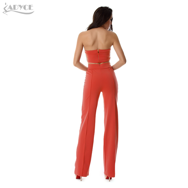 2016 New Women 2 Piece Set Tank Leggings Orange off the Shoulder Sleeveless Strapless Celebrity Party Top and Pants Wholesale