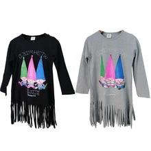 Chic Baby Kid Tassel Shirt Dress Long Tops Toddler Girl Fall Cartoon T-Shirt Tee