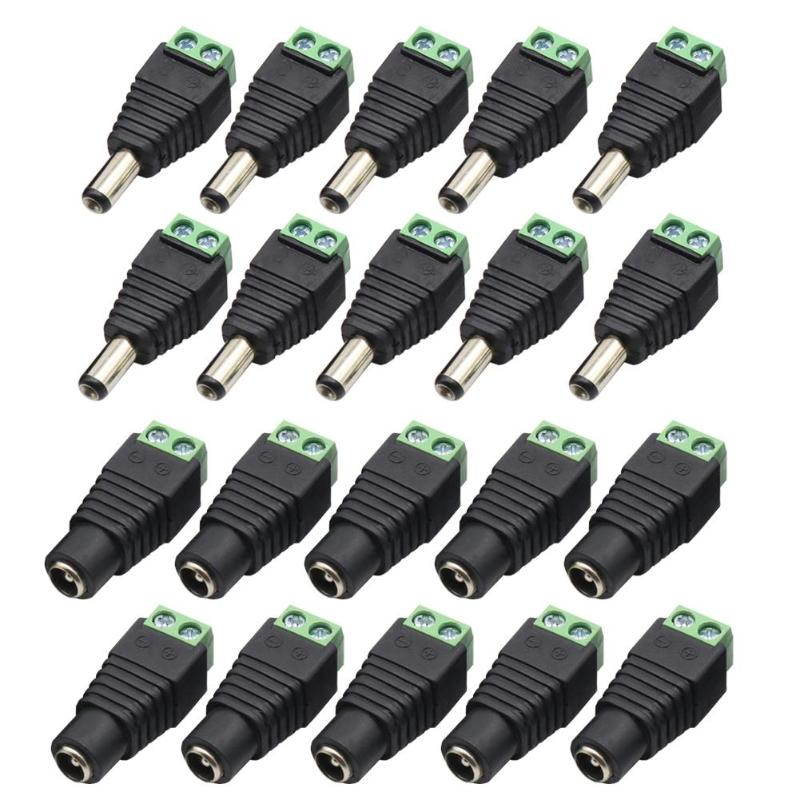 20pcs 10 Male+10 Female DC Power Connector Adapter 2.1x5.5mm Plug For CCTV