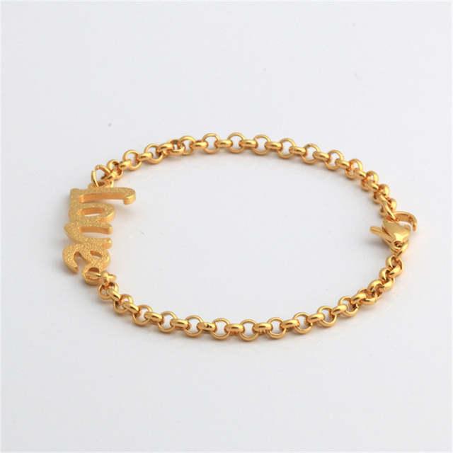 Valentine Bracelet Hope Gift Color Gold Letter Love Baby Femme MSUVzpq