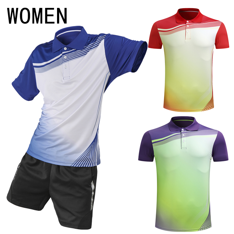 Free shipping, new tennis shirts (T-shirts + shorts), womens badminton suits, breathable, fast dry, tennis clothes