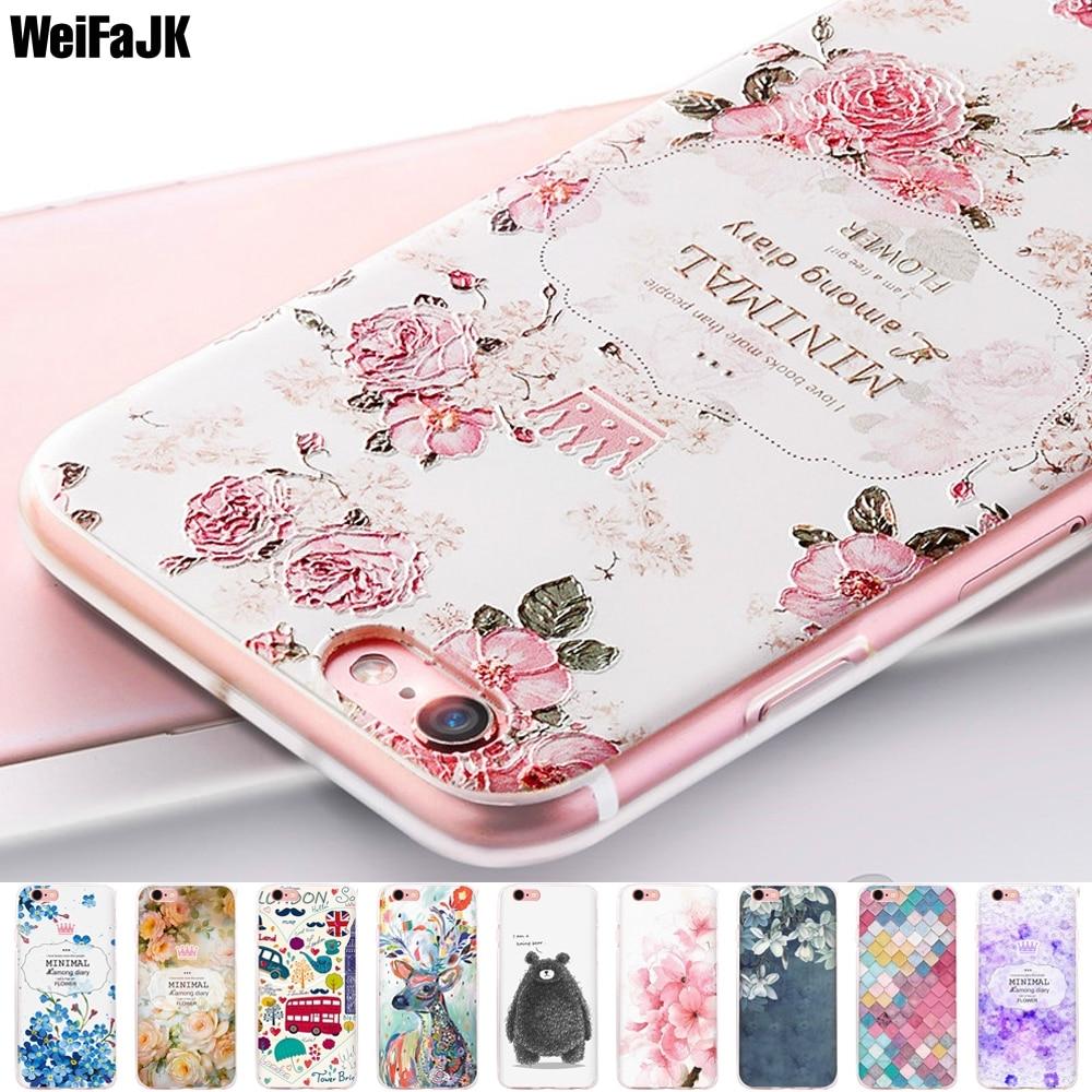 Galleria fotografica WeiFaJK Girl Phone Case for iPhone 6 6s 7 8 Plus Case for iPhone 5s 5 Women Relief Flower Silicone TPU Soft Cover X Full Coque