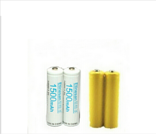 2pcs Etinesan 3.2v 1500mAh 14500 AA LiFePo4 Lithium Rechargeable Battery With Dummy Wireless Keyboard, Mouse, Clock Toy Horn