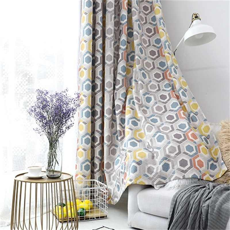 Modern Fashion Window Home Decoration Geometric Blackout Curtains For Living Room Bedroom Boy Curtain White Jacquard Tulle 186#4