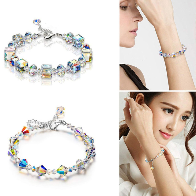 Geometric Square Crystal Charm Bracelets For Women Adjustable Strand Beads Engagement Party Jewelry 5