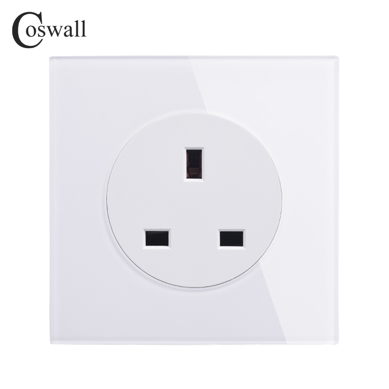 Coswall Crystal Glass Panel 13A UK British Standard Wall Power Socket Outlet Grounded With Child Protective Lock