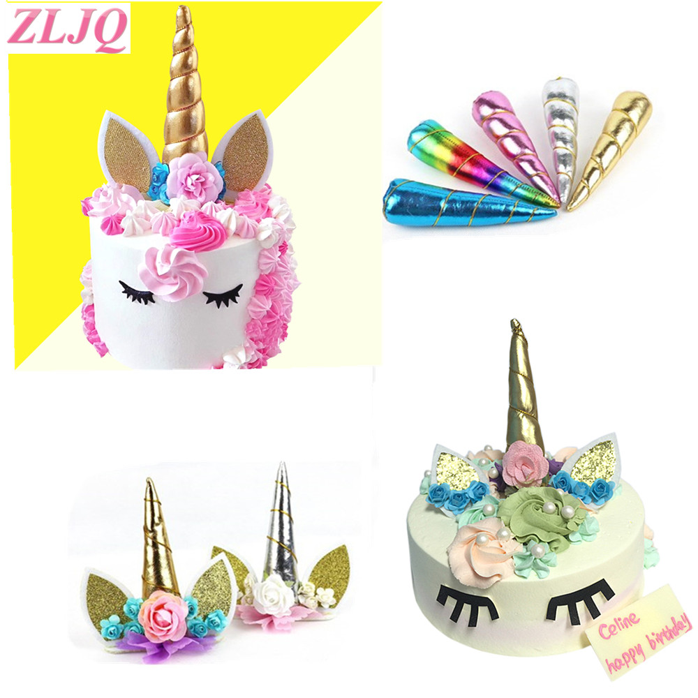 Zljq 1x unicorn party decor unicorn horns cake topper for for Decoration 4 cake