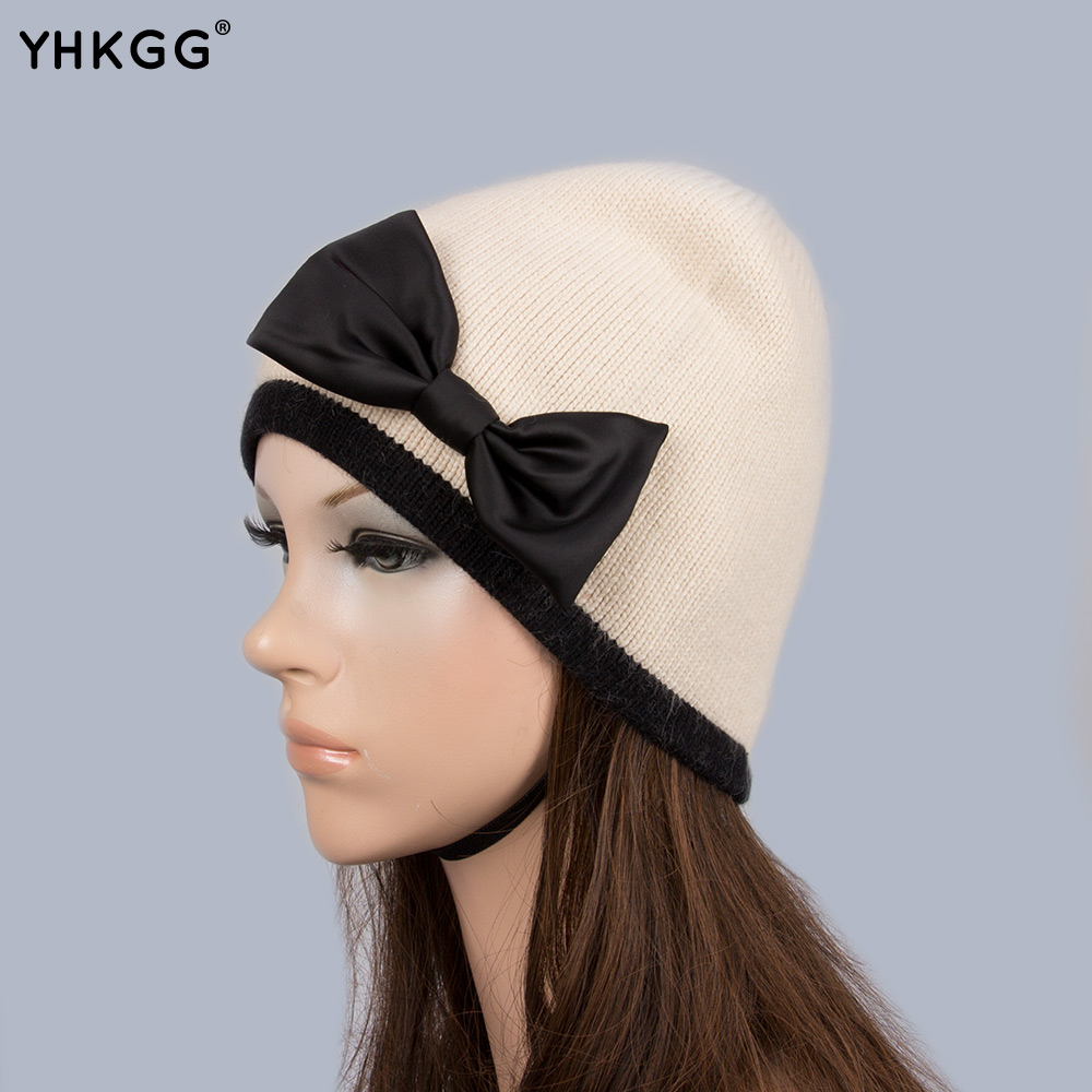 YHKGG Winter Wool Fur Hats With Black Bow-knot 2016 New Women's Hot Cap For Women Thick White Skullies Beanies Cap H017 retail vintage lady women black wool felt pillbox fascinator party wedding hat with bow veil wine camel black