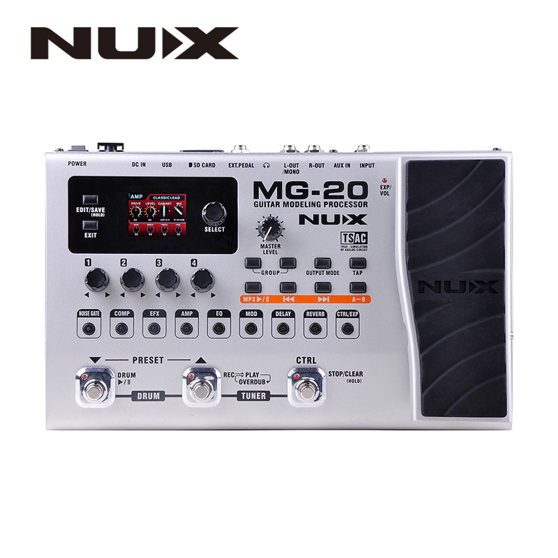 NUX MG-20 Guitar Multi-effects AMP Pedal Black Digitech Multi Effects Modeling Processor Guitarra Loop/ Volume nux mg 20 electric guitar multi effects pedal guitarra modeling processor with drum machine eu plug