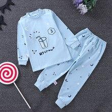 Купить с кэшбэком Pijamas Kids Pijama sets Cotton pyjamas Kids leisure wear Boys Girls printing Pajamas tshirt+pants clothing set sleepwear