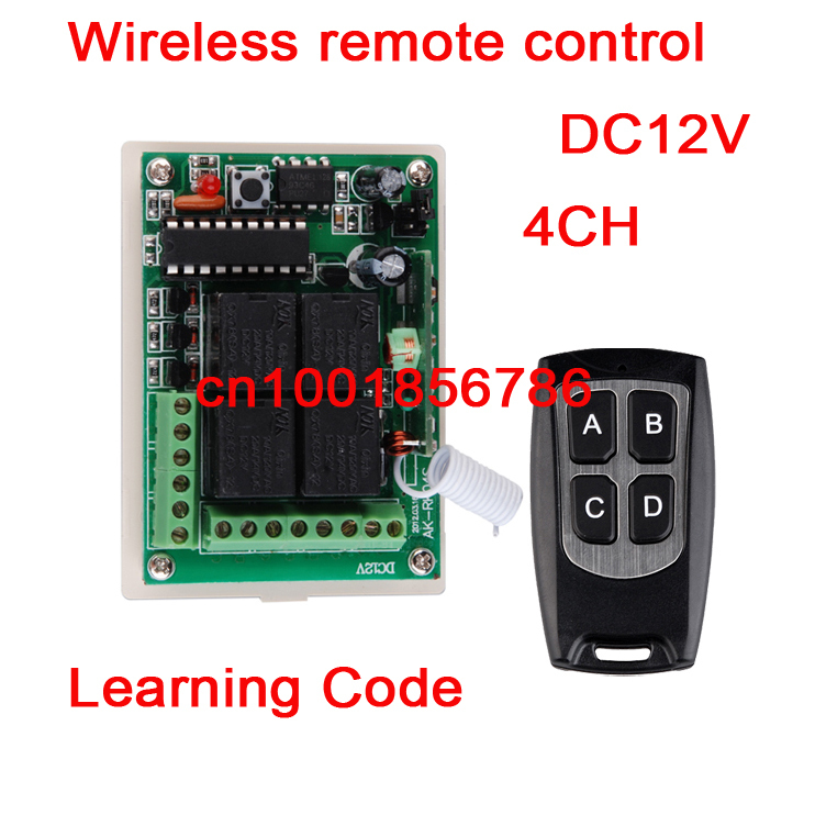 DC 12V 10A 4 Channels Learning Code RF Wireless Remote Control Switch Systems Receiver * 1Waterproof Transmitter