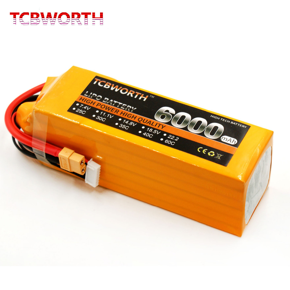 TCBWORTH 6S 22.2V 6000mAh 30C RC Drone LiPo battery For Airplane Helicopter Quadrotor Car Li-ion battery mos rc airplane lipo battery 3s 11 1v 5200mah 40c for quadrotor rc boat rc car