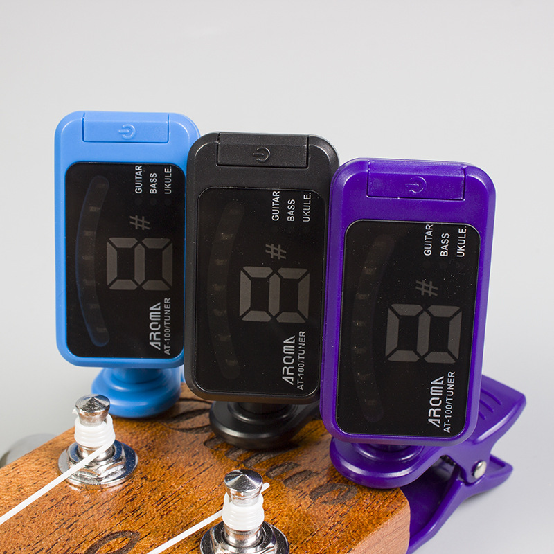 Aroma AT 100 Clip on Electric font b Guitar b font Tuner Chromatic Bass Ukulele Universal
