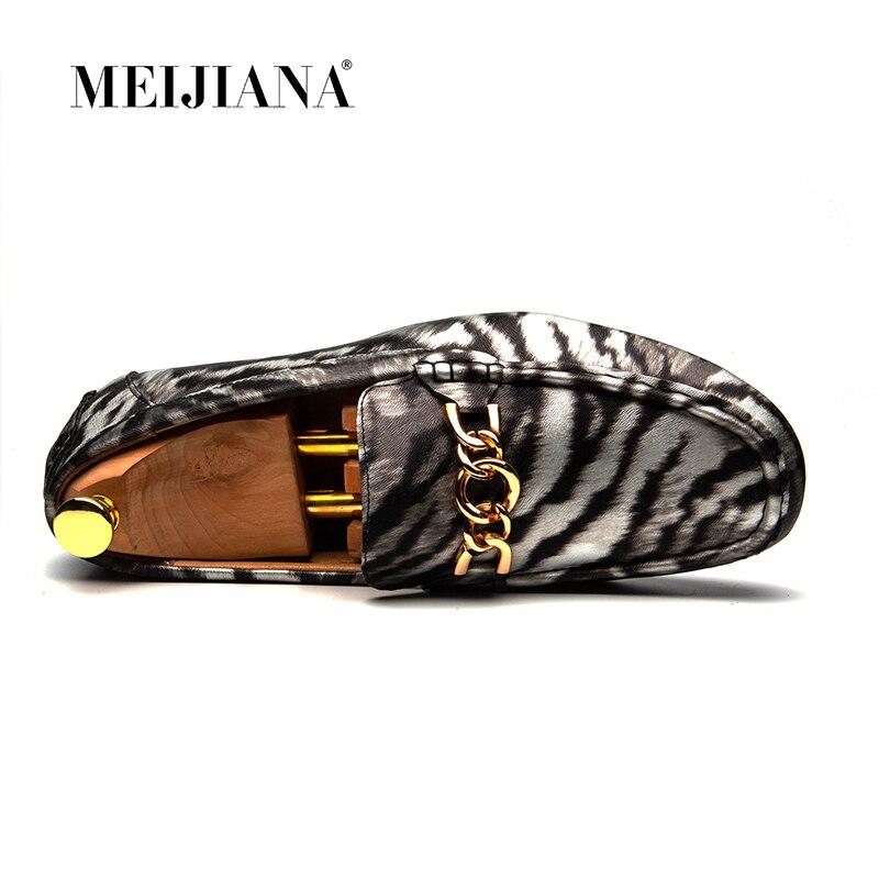 La Nouveau Zèbre Mode Hommes Conduite Casual De En Marque Appartements Bateau Cuir Motif Chaussures Blanc Slip 2018 Sur Meijiana 70pqn
