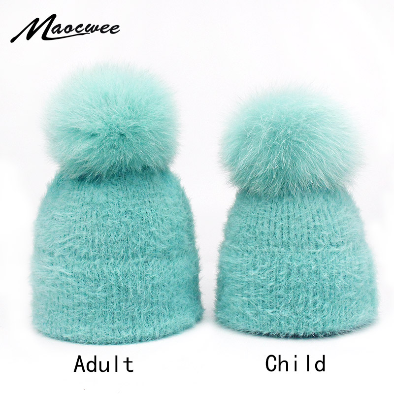 Women And Children Winter Hats Solid Autumn Winter Real Fox Raccoon Fur Pompom   Skullies     Beanies   Cotton Wool Warm Knitted Cap