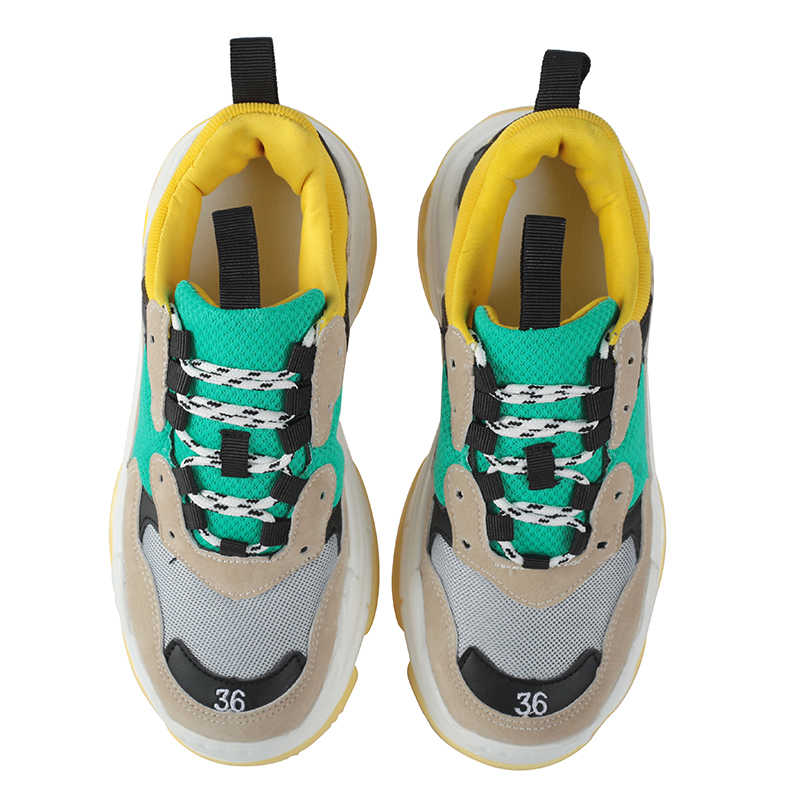 2018 סתיו נשים שמנמן סניקרס בציר אופנה לנשימה נעליים יומיומיות chaussure femme שרוכים שטוח פלטפורמת נעלי לבן 11