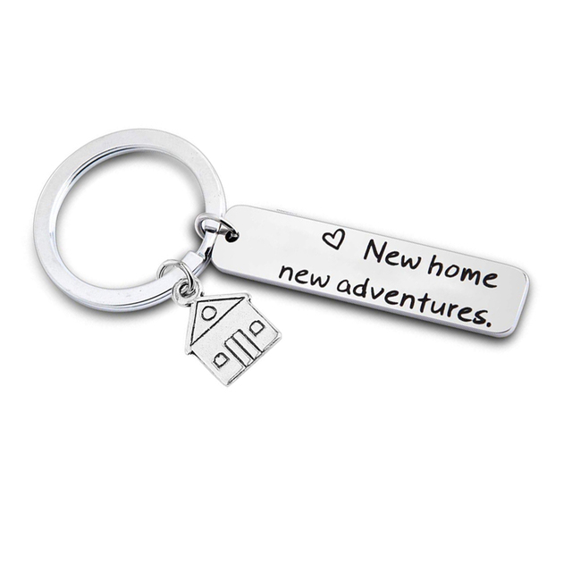 New Home New Adventures Keychain House Keys Keyring Moving Together First  Home Funny Key Chains Housewarming Gift for Her or Him 990e2165c350