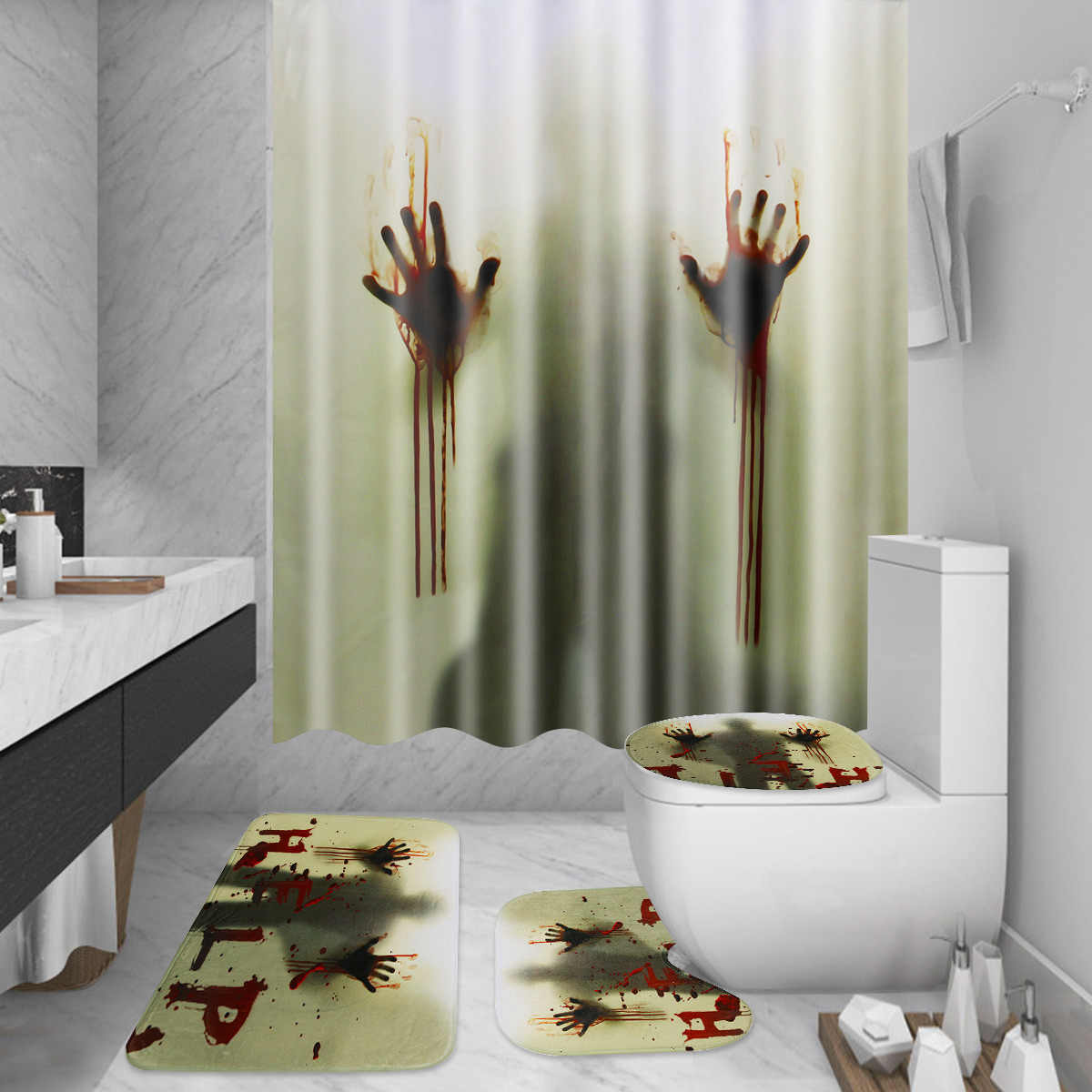 4PCS 180x180cm Bath Waterproof Curtain Scary Creepy Bloody Hand Shower Curtain Halloween +Floor Mat+12 Hooks Home Bathroom Decor