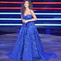 Myriam Fares Long Celebrity Evening Dresses 2016 Vestido De Festa Sleeveless Lace Appliques Flower Court Train Evening Dresses