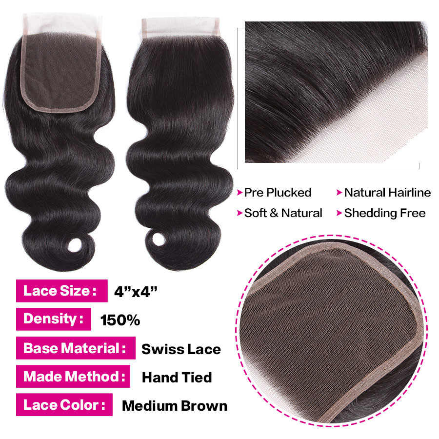 Body Wave Bundles With Closure Brazilian Hair Weave 4 Bundles With Closure Human Hair Bundles With Closure Malaysian Remy Hair