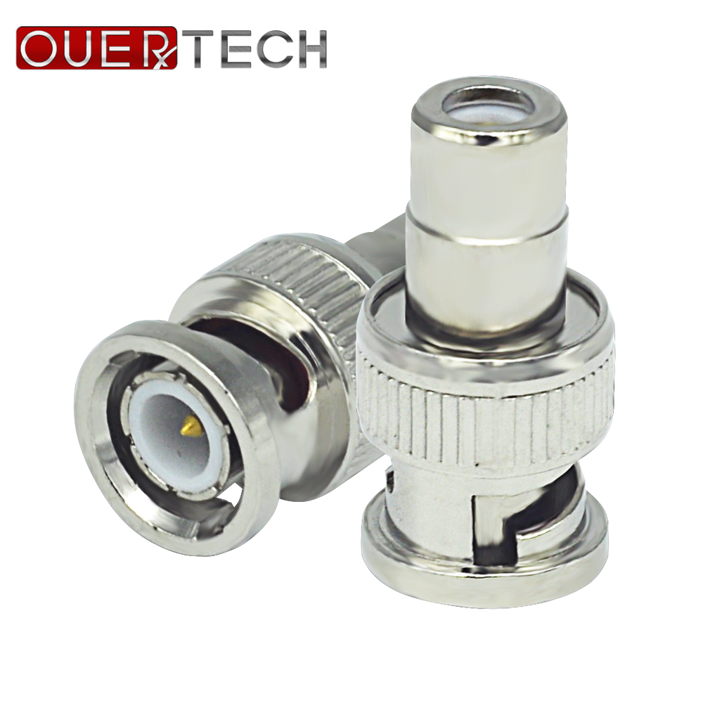 OUERTECH 10pcs BNC Male Plug To RCA Female Jack Adapter Connector Coaxial CCTV Durable