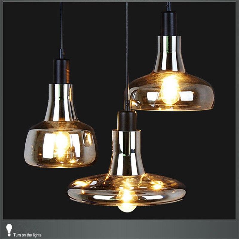 nuevo vintage de cristal colgante de luz de color gris para lamparas dormitorio cocina lmpara colgante decoracin del hogar iluminacin hanglamp en
