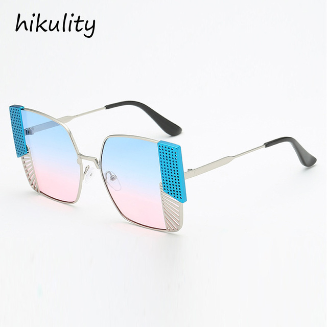 0ff356e56f82 89122 Oversized Polygon Sunglasses Women 2018 Luxury Brand Metal Big Frame  Hollow Ladies Shades Blue Pink Sun Glasses Female